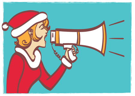 Vector full isolated portrait of a beautiful woman in christmas clothes with megaphone. eps 10 on layers