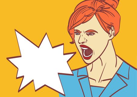 vector screaming woman art. Business lady, boss in work.Eps 10 on layers.