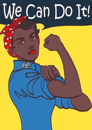 우리는 할 수있다. 노력에 공헌하는 미국 여자의 사기를 밀어주는 2 차 세계 대전 포스터. 아프리카 여자 예술, 분기 EPS 10