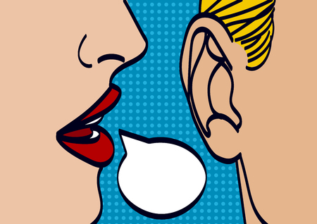 Woman lips whispering in mans ear drawing vector illustration
