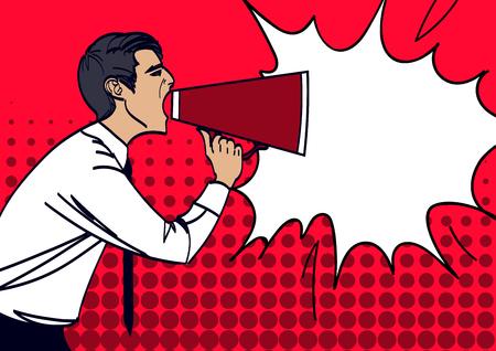 Pop Art Businessman Shouting in Megaphone. Vector illustration eps 10. Illustration