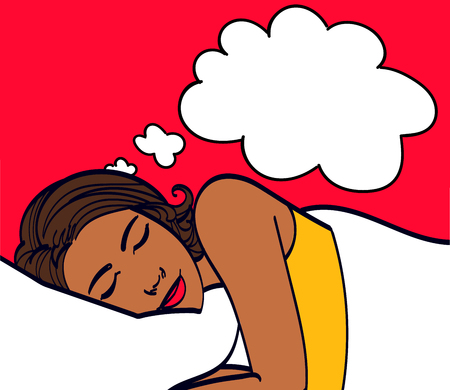 Beautiful girl sleeps in the bedroom.Pop Art girl. Advertising poster. Comic woman.Pop art background. dreamy, attractive, morning, lying in bed, resting woman, resting, cute, art, pop. Illustration
