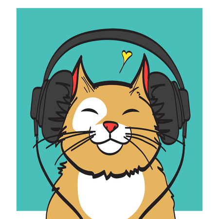 cool vector art of cat with headphone music picture eps 10 rh 123rf com cool free vector art cool vector art illustrations