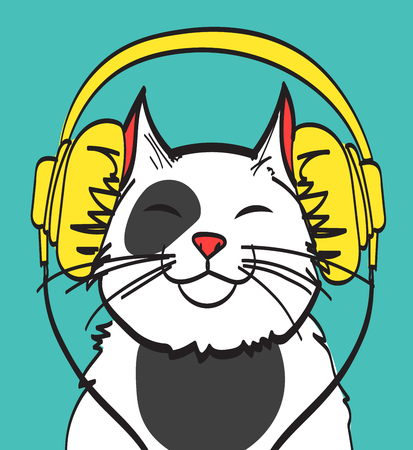 funny baby: Cool vector art of cat with headphone. Music picture, eps 10 on layers