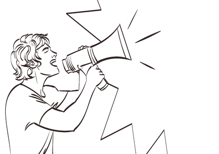 Vector full isolated portrait of a beautiful man with megaphone. Lineart drawing, eps 10.