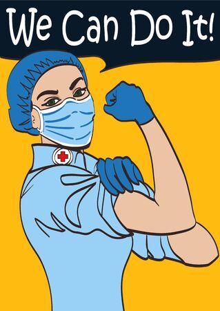 Wir können es schaffen. Vector ikonische Ärztin in einem medizinischen Maskenfaustsymbol für weibliche Macht und Industrie.