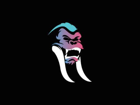 Ancient gorilla logo design inspiration. Vector illustration of a fang gorilla logo combination 일러스트