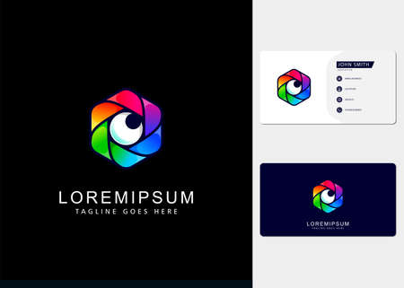 elegant gradient full color hexagon camera lens Logo design inspiration and business cards
