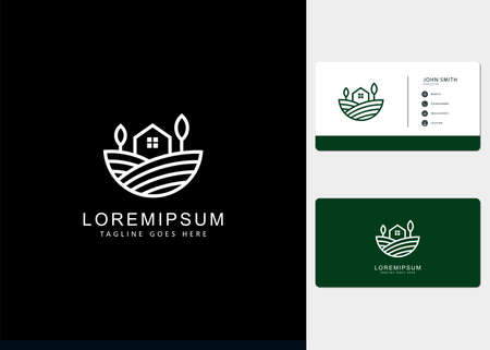farmhouse garden fields Logo design inspiration with line art style and business cards