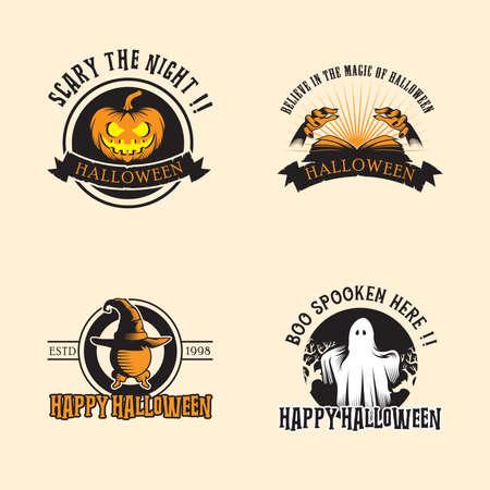 Halloween design inspiration, vector collection of halloween stickers. pumpkin, sphere, hands, ghost.