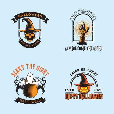 vector collection of halloween stickers. Halloween, pumpkin, ghost, skull, cauldron, zombie hand.