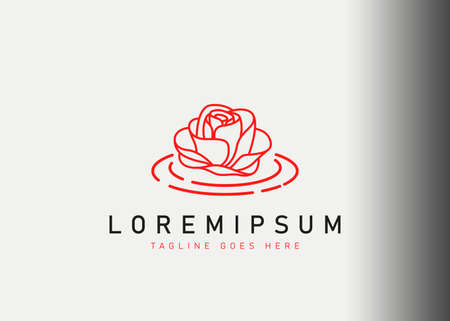 Floating flower logo design. Vector illustration of flowers floating above the liquid water. Modern logo design with line art style. Logos