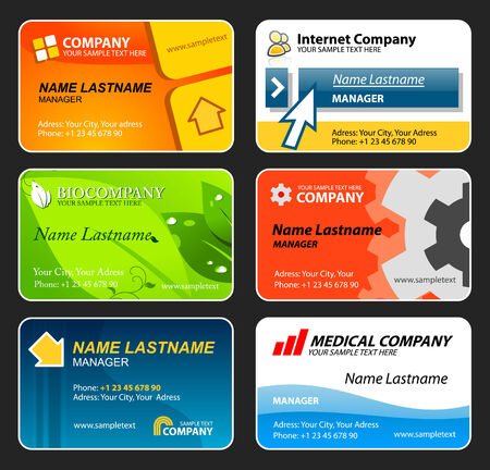 Set of colorful business cards. Editable vector Stock Vector - 4845061