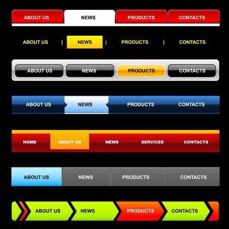 Easy to edit stylish website navigation templates 5 (variant on Black) Ilustrace