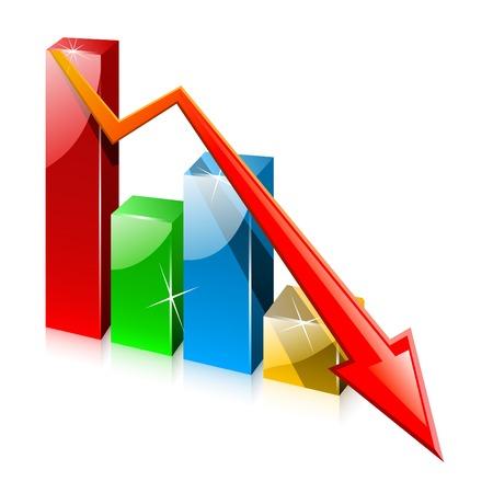 perdidas y ganancias: Vidrioso colorido gr�fico con la flecha Vectores