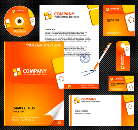 Editable corporate Identity template 1:  blank, card, pen, cd, note-paper, envelope