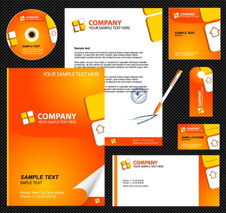 carta da lettere: Modello di identit� azienda modificabile 1: bianco, carta, penna, cd, nota-carta, busta Vettoriali