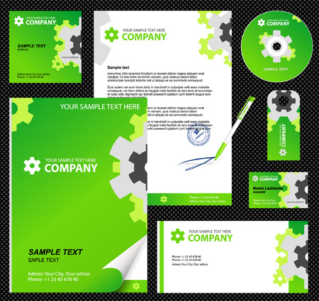 Editable corporate Identity template 2:  blank, card, pen, cd, note-paper, envelope Stock Vector - 4896510