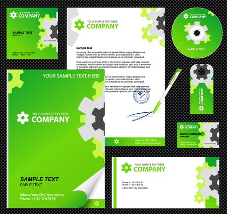 carta da lettere: Modificabile Corporate Identity modello 2: bianco, carta, penne, cd, nota-carta, buste Vettoriali