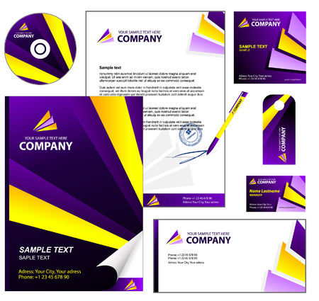 Editable corporate Identity template 3: Violet Vector