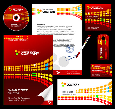 Editable corporate Identity template 3: red Stock Vector - 4896513