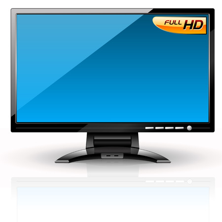 variant: LCD Panel: Blue variant. Editable vector