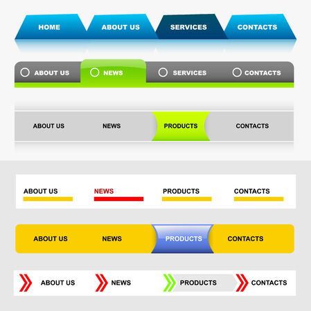 Easy to edit stylish website navigation templates 5 Vector