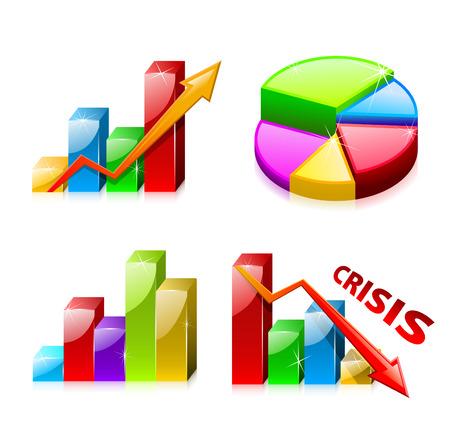 profit and loss: 1 set di grafici vetroso con lo schema (finanza) Vettoriali