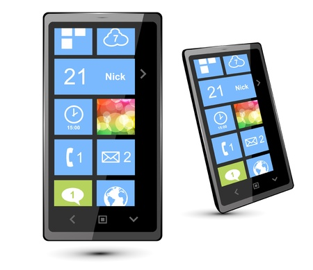 multi touch: Fictitious  touch smartphone with modern interface. Vector Illustration.