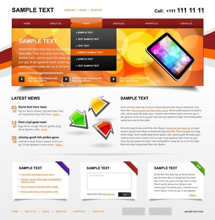siti web: Sito Web Template 4 variante colore 3 Vettoriali