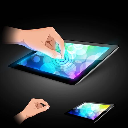 Man hand is touching tablet pc to make gesture  Variant on dark background  Vector