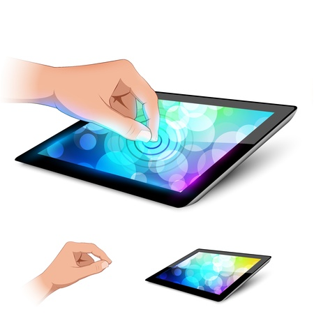 Man hand is touching tablet pc to make gesture  Variant on white background  Illustration