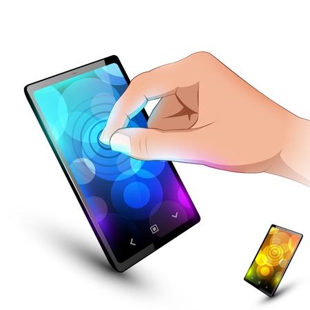 Man hand is touching sensory phone  Variant on white background  Ilustrace