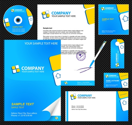 Business style corporate identity template 6 blue blank, card, pen, cd, note-paper, envelope