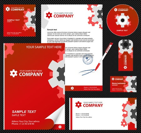 calling art: Business style, corporate identity template 7  red industrial    blank, card, pen, cd, note-paper, envelope