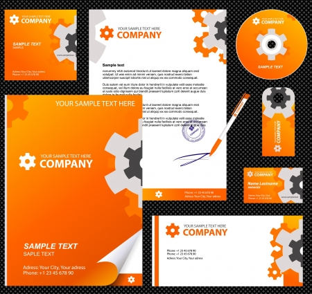 visual: Business style, corporate identity template 8  orange industrial    blank, card, pen, cd, note-paper, envelope
