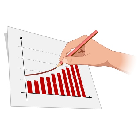 sales chart: Man hand is drawing growth progress 2