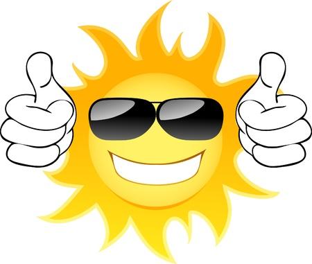 Sonriendo el sol con gafas. Ilustración vectorial