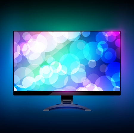flat panel monitor: Modern wide screen tv display 2. On black Illustration