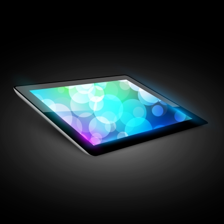 mobile device: Tablet pc. Variant without hand. Dark background.