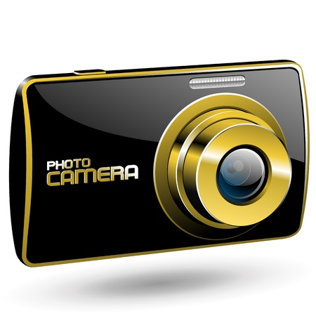 Vector Photo camera 3 (black with gold) Illustration