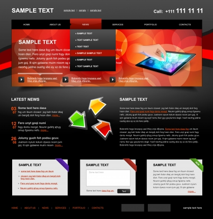 Editable Website Template 4. Color variant 4 (Red on Dark) Stock Vector - 13630090