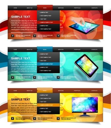 Set of website navigation templates 6. Variant on White.