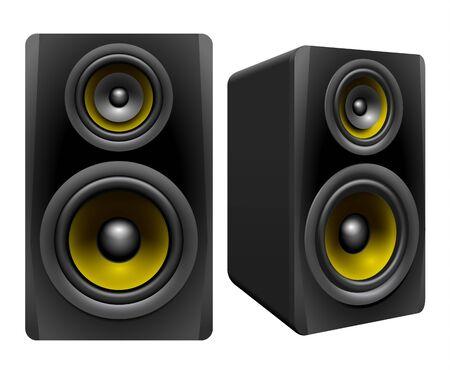 multimedia background: Speakers on white background, vector illustration Illustration