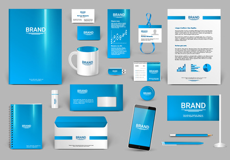corporate identity template: Blue corporate identity template Illustration