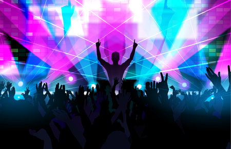 Electronic dance music festival with silhouettes of happy dancing people with raised up hands. Reklamní fotografie - 56861086