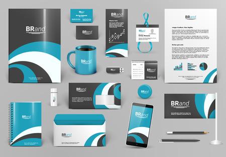ブルーの高級ブランドのデザインのキットです。プレミアム企業の id テンプレート。ビジネス文房具モックアップとドキュメントです。編集可能な  イラスト・ベクター素材