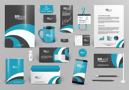 Blue luxury branding design kit. Premium corporate identity template. Business stationery mock-up and documentation. Editable vector illustration: folder, envelope, cup, card, etc. Illustration
