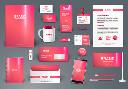 Red luxury branding design kit. Identity template for spa, shop, boutique, medical or beauty salon. Business stationery mock-up. Editable vector illustration: folder, envelope, cup, card, etc.