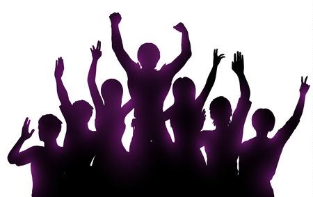 Siluetas de la gente feliz con las manos arriba en el fondo blanco